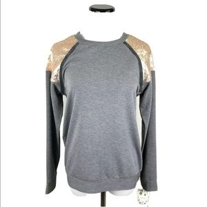 LDLA Gray Sweatshirt Top Rose Gold Sequin